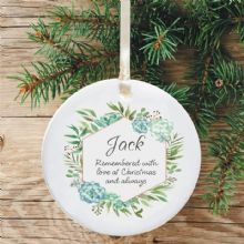 In Loving Memory Personalised Remembrance Christmas Tree Decoration - Geometric Blue Floral Design